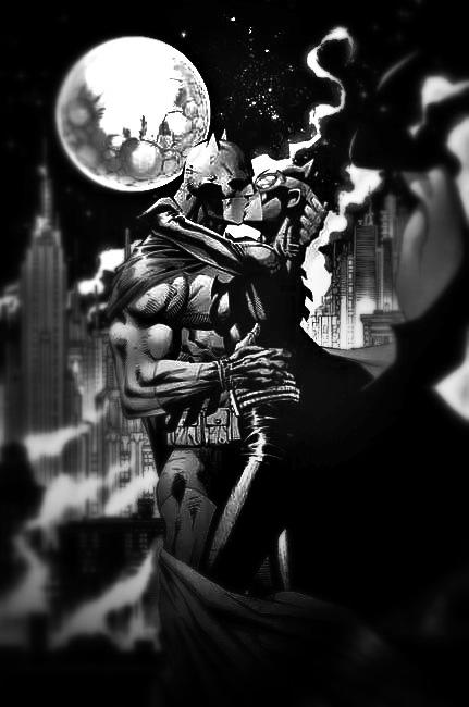 DC Comics Batman Hush Kissing the Knight B&W