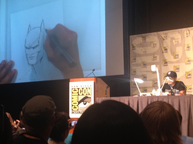 Jim Lee free-hand sketching at SDCC 2012