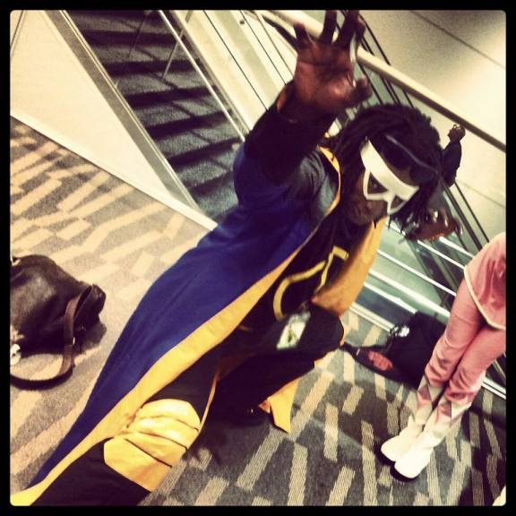 That's our resident Hush family badass, Jojo, cosplaying as Static at Denver Comic Con 2013