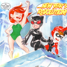 Harley and her gal pals in Li'l Gotham