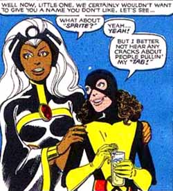 Kitty in one of her first appearances in 1980 donning the name Sprite.