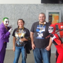 Sara and Sherif having a laugh with Joker and Harley at ComicPalooza 2014