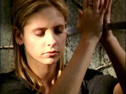 "Sarah Michelle Gellar as Buffy in 1998's ""Becoming"". She caught a sword with her hands and then killed her murderous lover after this (spoiler!)"