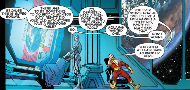 Shazam and Cyborg discuss additions to the Watchtower in Justice League #31