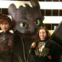 Sara with a Toothless stand-out at the movie theater