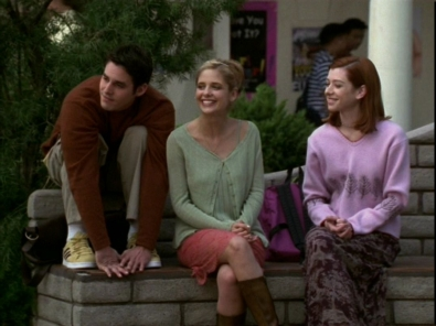 Nicholas Brendon as Xander Harris with his gals Buffy and Willow (Sarah Michelle Gellar and Alyson Hannigan).
