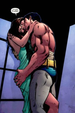 Batman and Talia share a very steamy moment.