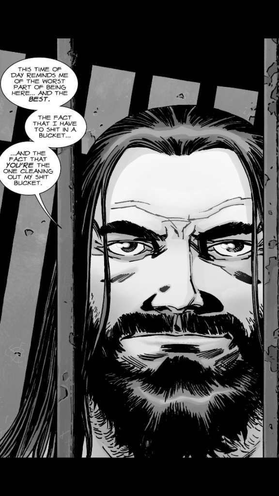 Negan is a glass half-full kinda guy in The Walking Dead #129
