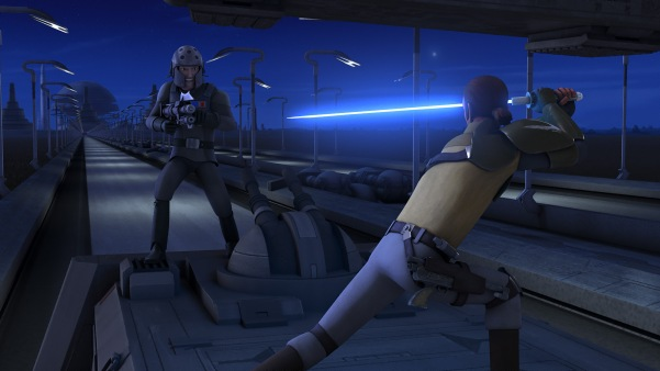 Kanan defending his team from the persistent Agent Kallus