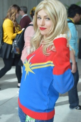Carol Danvers on a casual day (by the way, if you love this sweater, it was a huge hit at the We Love Fine booth).