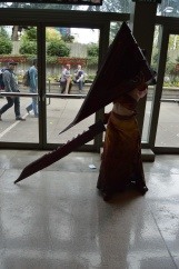 Pyramid Head.. she was so committed to the part, she even had on white contacts under there!
