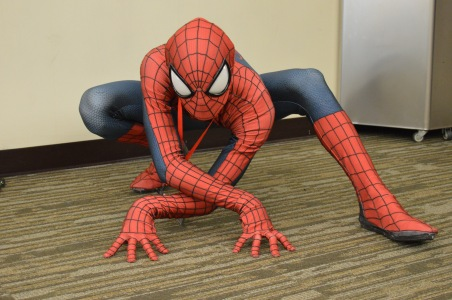 This Spider-Man was working all the poses for at least an hour. It could be the new yoga--Spider-Man...ing.