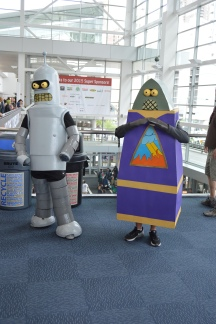 Bender and Reverend Lionel Preacher Bot Cosplay at Denver Comic Con 2015