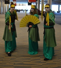 Kyoshi Warriors from Avatar Cosplay at Denver Comic Con 2015