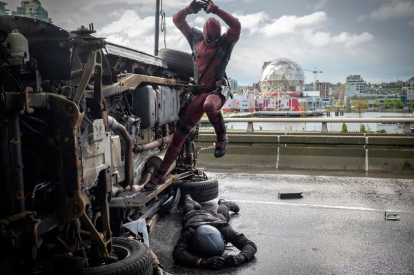 DEADPOOL Deadpool (Ryan Reynolds) pounces on an adversary. Photo Credit: Joe Lederer TM & © 2015 Marvel & Subs.  TM and © 2015 Twentieth Century Fox Film Corporation.  All rights reserved.  Not for sale or duplication.
