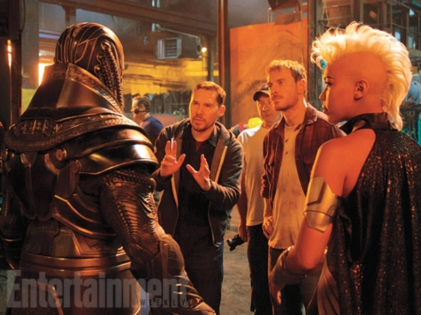 Photo of director Bryan Singer, Oscar Issac, Michael Fassbender and Alexandra Shipp on the set of X-Men: Apocalypse. Photo courtesy of EW and property of Fox Studios.