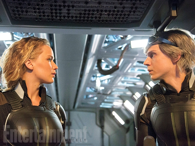 Still of Mystique (Jennifer Lawrence) and Quicksilver (Evan Peters) in X-