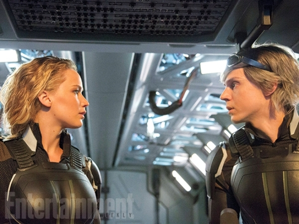 Still of Mystique (Jennifer Lawrence) and Quicksilver (Evan Peters) in X-Men: Apocalypse. Photo courtesy of EW and property of Fox Studios