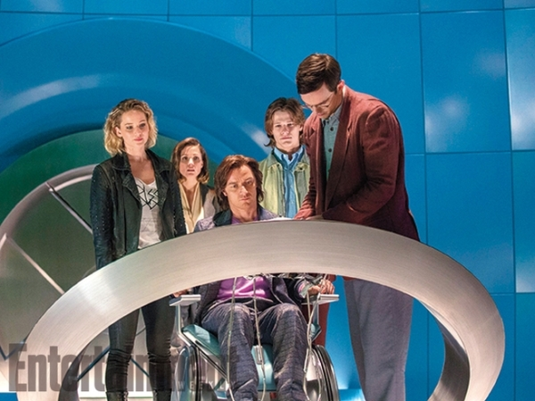 Still of Mystique (Jennifer Lawrence), Moira McTaggert (Rose Byrne), Professor Xavier (James McAvoy) and Beast (Nick Hoult) in X-Men: Apocalypse. Photo courtesy of EW and property of Fox Studios