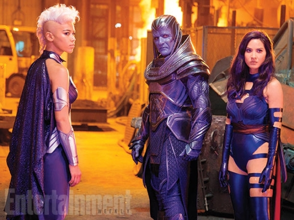 Still of Storm (Alexandra Shipp), Apocalypse (Oscar Isaac), and Psylocke (Olivia Munn)  Photo courtesy of EW and property of Fox Studios
