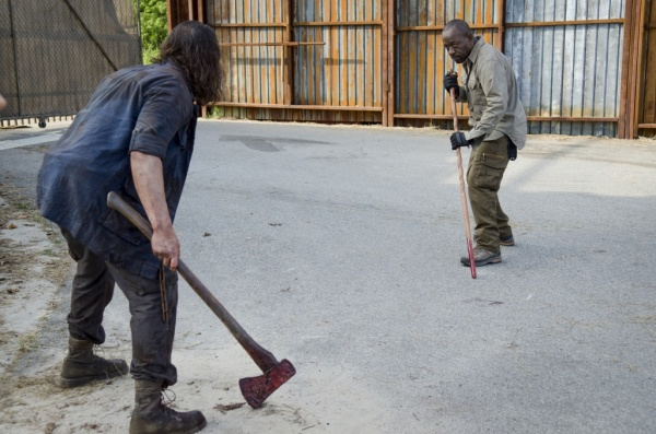 Lance Tafelski as Horseshoe Mustache Wolf and Lennie James as Morgan Jones - The Walking Dead _ Season 6, Episode 2 - Photo Credit: Gene Page/AMC
